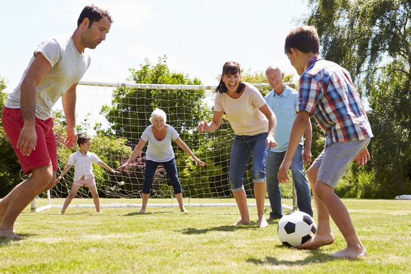 Family, soccer, intergeneration, fun, play